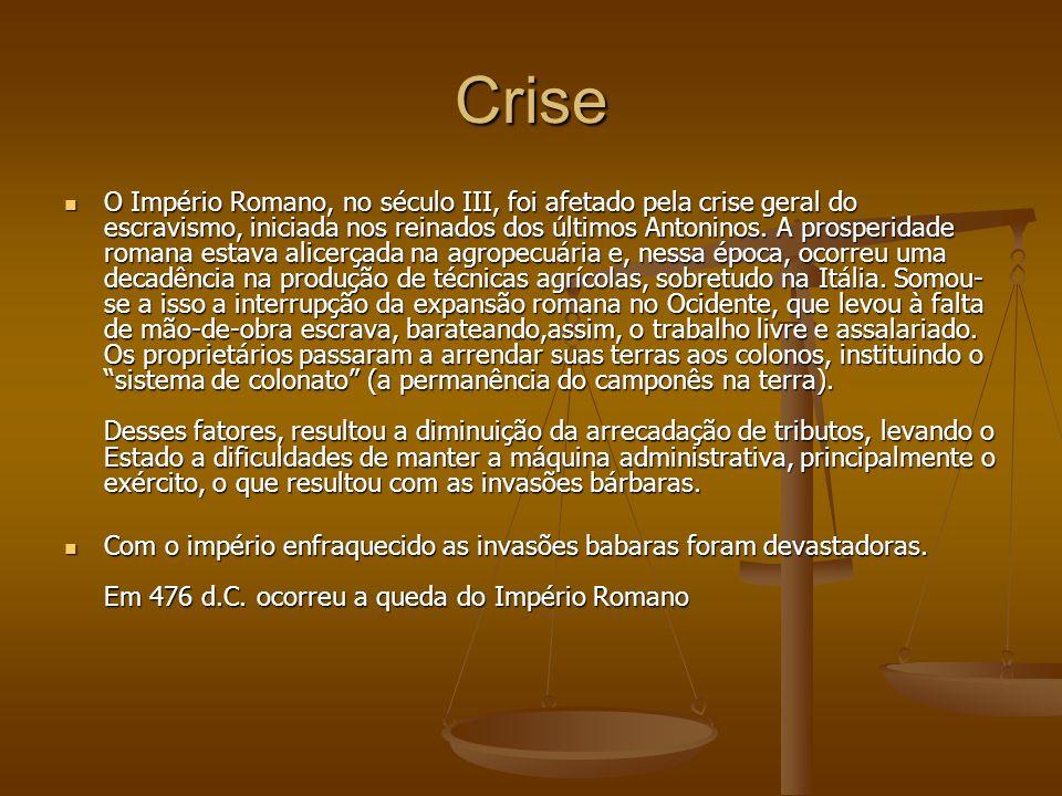 Crise O Império Romano, no século III, foi afetado pela crise geral do escravismo, iniciada nos reinados dos últimos Antoninos. A prosperidade romana