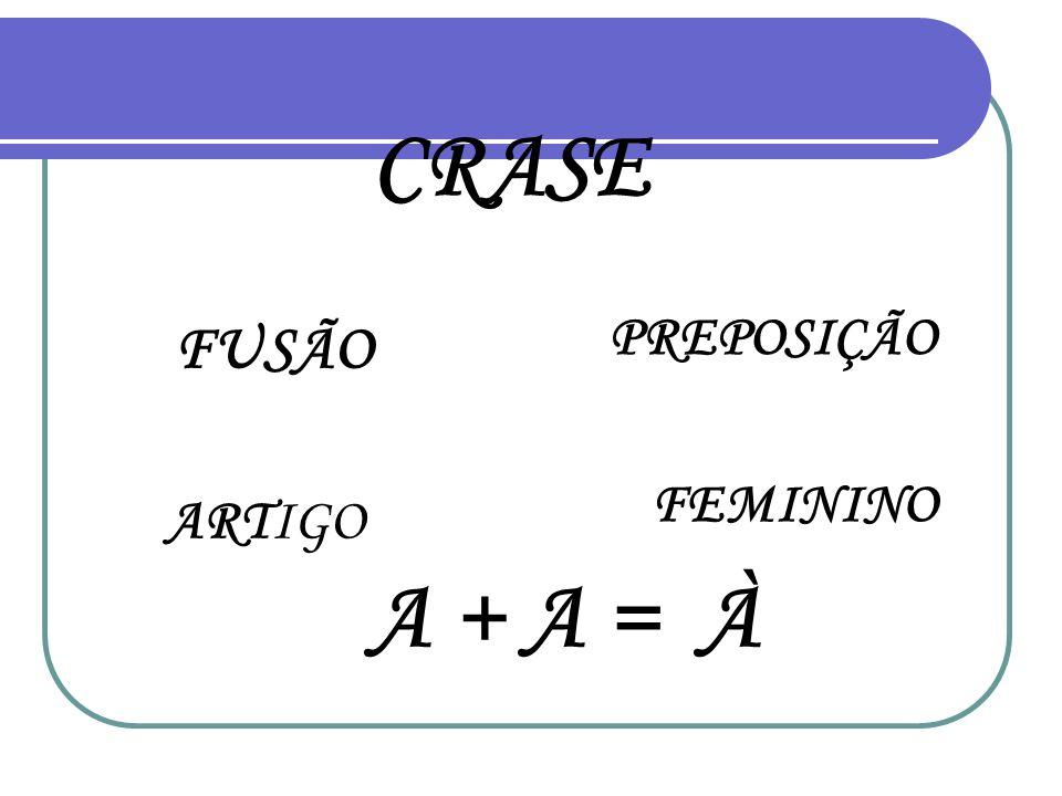 CRASE FUSÃO ARTIGO PREPOSIÇÃO FEMININO A + A = À