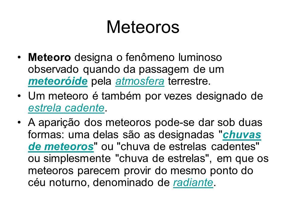 Meteoros Meteoro designa o fenômeno luminoso observado quando da passagem de um meteoróide pela atmosfera terrestre. meteoróideatmosfera Um meteoro é