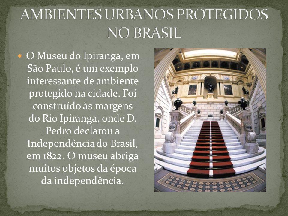 patrimônio cultural Nas cidades também encontramos ambientes protegidos. Um parque, uma praça e mesmo uma casa podem ser exemplos de ambientes protegi