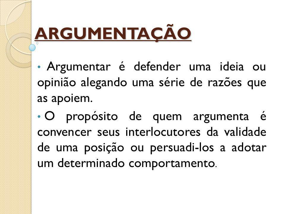 Elementos comunicativos da argumentação: Emissor -> É a pessoa que faz a argumentação.
