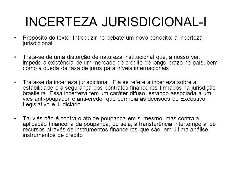 INCERTEZA JURISDICIONAL-I Propósito do texto: Introduzir no debate um novo conceito: a incerteza jurisdicional Trata-se de uma distorção de natureza i