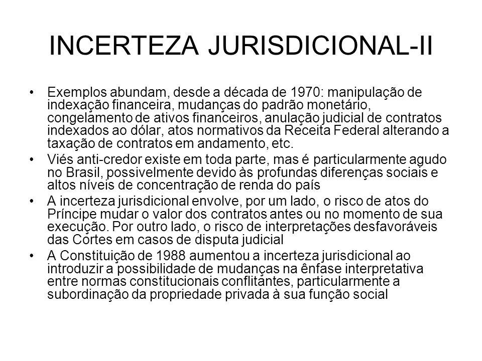 INCERTEZA JURISDICIONAL-II Exemplos abundam, desde a década de 1970: manipulação de indexação financeira, mudanças do padrão monetário, congelamento d