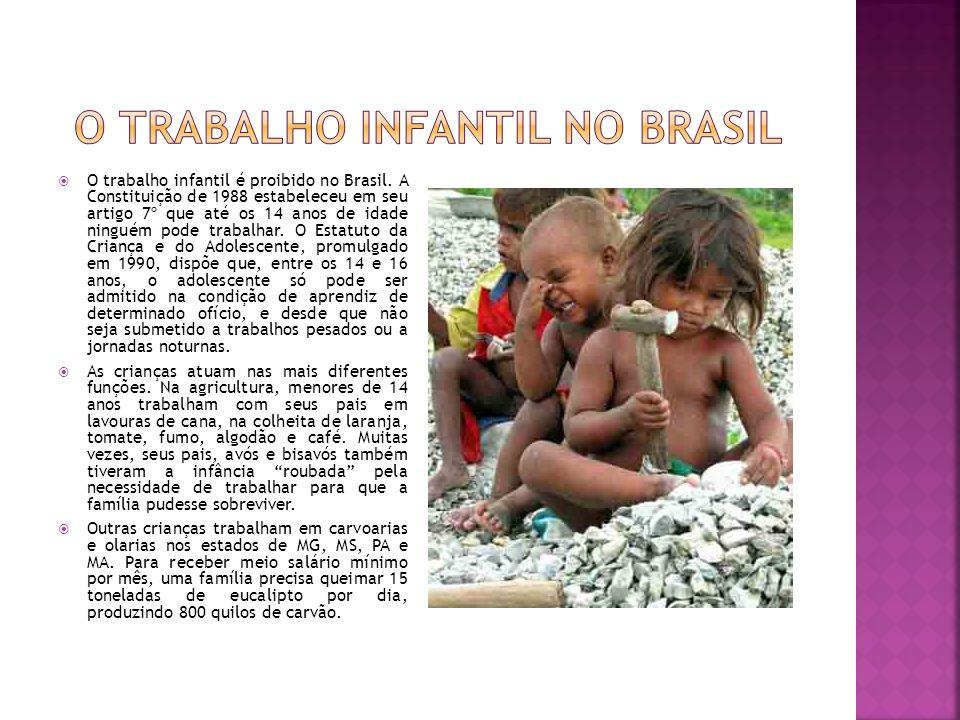O trabalho infantil é proibido no Brasil. A Constituição de 1988 estabeleceu em seu artigo 7º que até os 14 anos de idade ninguém pode trabalhar. O Es