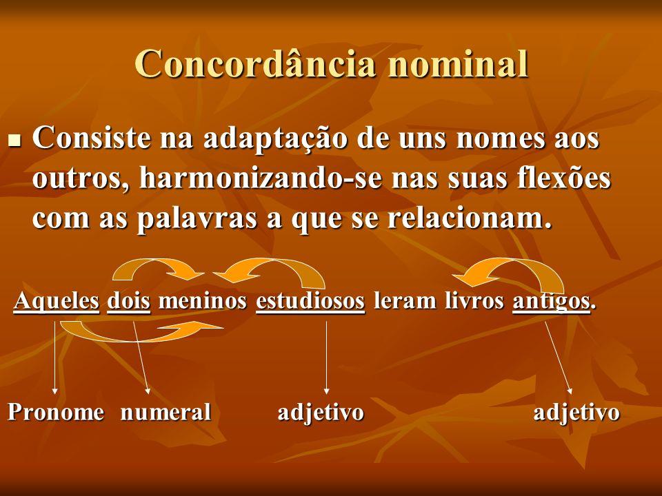 Concordância nominal Consiste na adaptação de uns nomes aos outros, harmonizando-se nas suas flexões com as palavras a que se relacionam. Consiste na