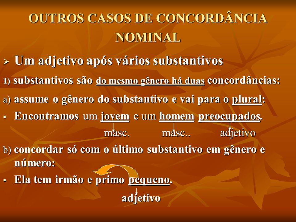 OUTROS CASOS DE CONCORDÂNCIA NOMINAL Um adjetivo após vários substantivos Um adjetivo após vários substantivos 1) substantivos são do mesmo gênero há