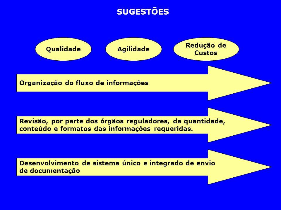 SUGESTÕES QualidadeAgilidade Redução de Custos Organização do fluxo de informações Revisão, por parte dos órgãos reguladores, da quantidade, conteúdo