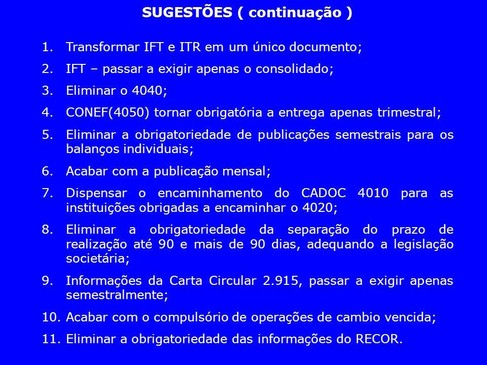SUGESTÕES ( continuação ) 1.Transformar IFT e ITR em um único documento; 2.IFT – passar a exigir apenas o consolidado; 3.Eliminar o 4040; 4.CONEF(4050
