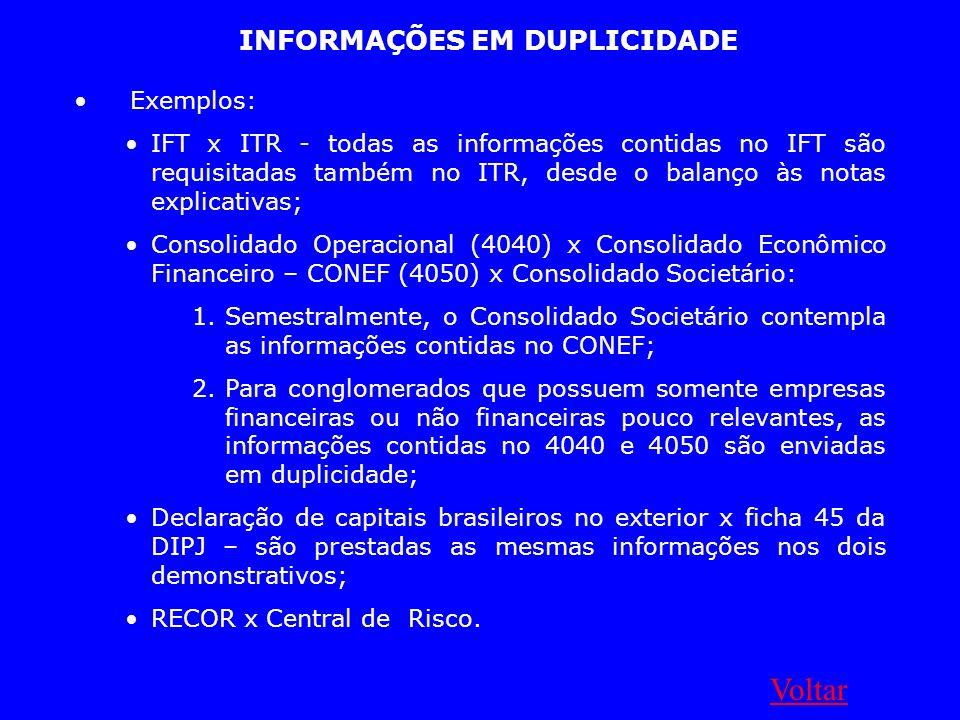 INFORMAÇÕES EM DUPLICIDADE Exemplos: IFT x ITR - todas as informações contidas no IFT são requisitadas também no ITR, desde o balanço às notas explica