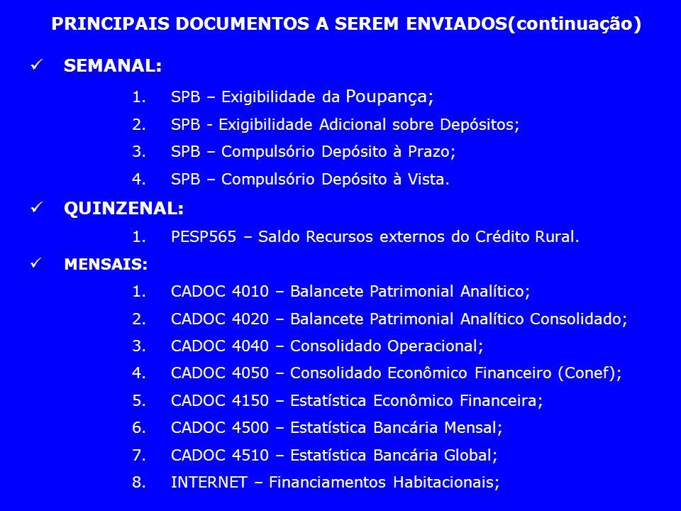 PRINCIPAIS DOCUMENTOS A SEREM ENVIADOS(continuação) SEMANAL: 1. SPB – Exigibilidade da Poupança; 2. SPB - Exigibilidade Adicional sobre Depósitos; 3.