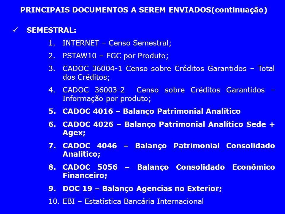 PRINCIPAIS DOCUMENTOS A SEREM ENVIADOS(continuação) SEMESTRAL: 1.INTERNET – Censo Semestral; 2.PSTAW10 – FGC por Produto; 3.CADOC 36004-1 Censo sobre