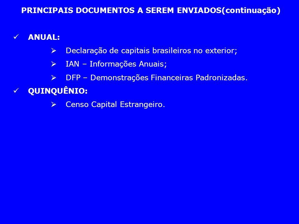 PRINCIPAIS DOCUMENTOS A SEREM ENVIADOS(continuação) ANUAL: Declaração de capitais brasileiros no exterior; IAN – Informações Anuais; DFP – Demonstraçõ