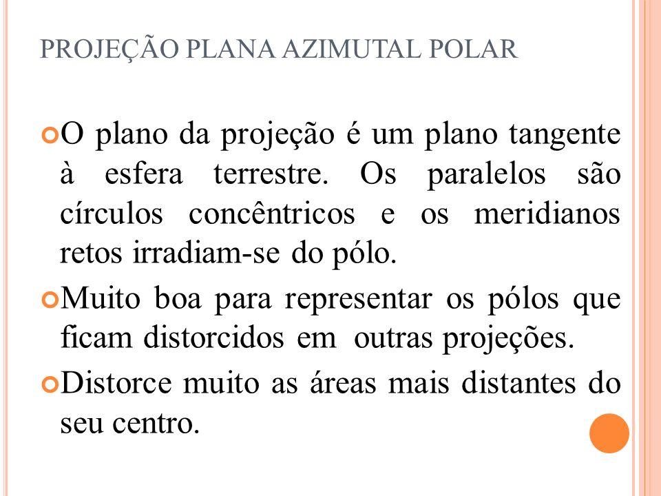 O plano da projeção é um plano tangente à esfera terrestre. Os paralelos são círculos concêntricos e os meridianos retos irradiam-se do pólo. Muito bo
