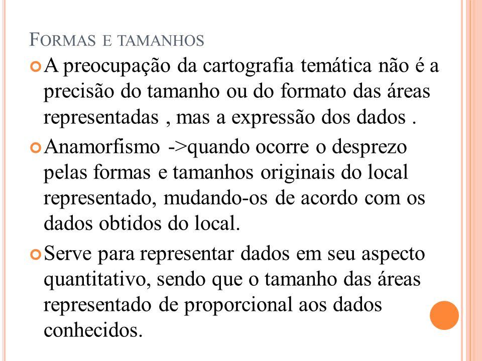 F ORMAS E TAMANHOS A preocupação da cartografia temática não é a precisão do tamanho ou do formato das áreas representadas, mas a expressão dos dados.