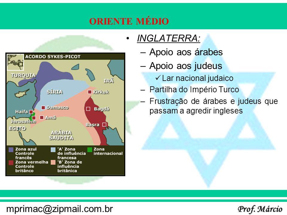 Prof. Márcio mprimac@zipmail.com.br ORIENTE MÉDIO INGLATERRA: –Apoio aos árabes –Apoio aos judeus Lar nacional judaico –Partilha do Império Turco –Fru