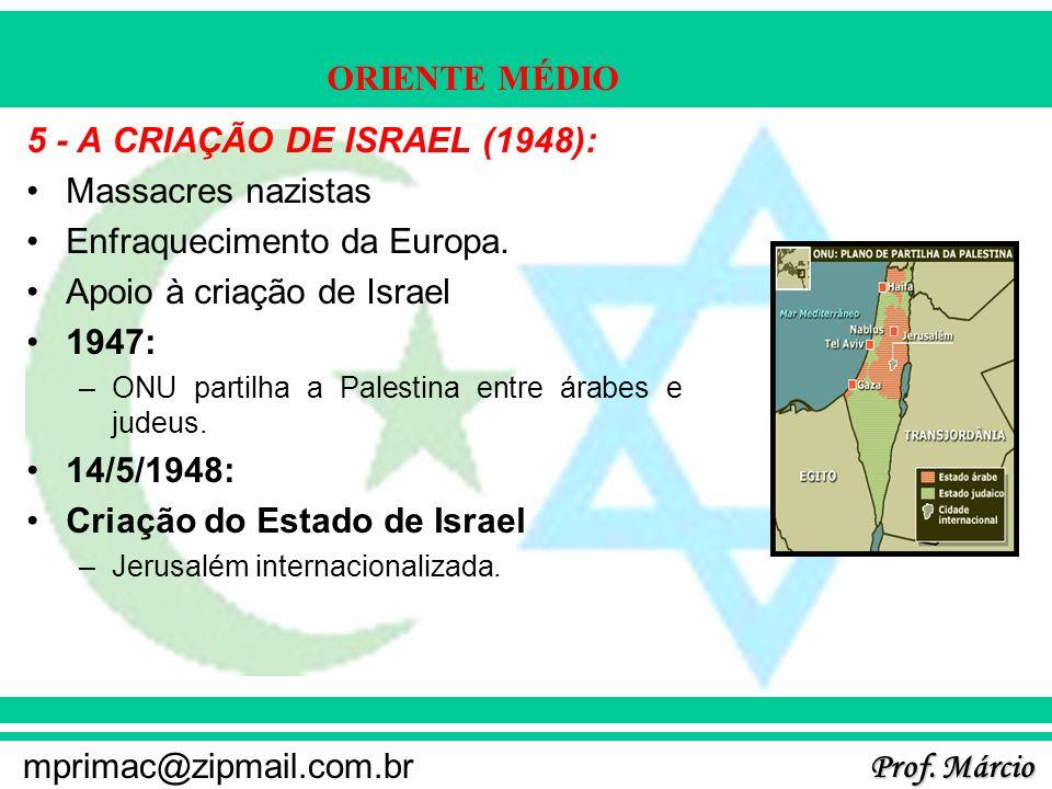 Prof. Márcio mprimac@zipmail.com.br ORIENTE MÉDIO 5 - A CRIAÇÃO DE ISRAEL (1948): Massacres nazistas Enfraquecimento da Europa. Apoio à criação de Isr