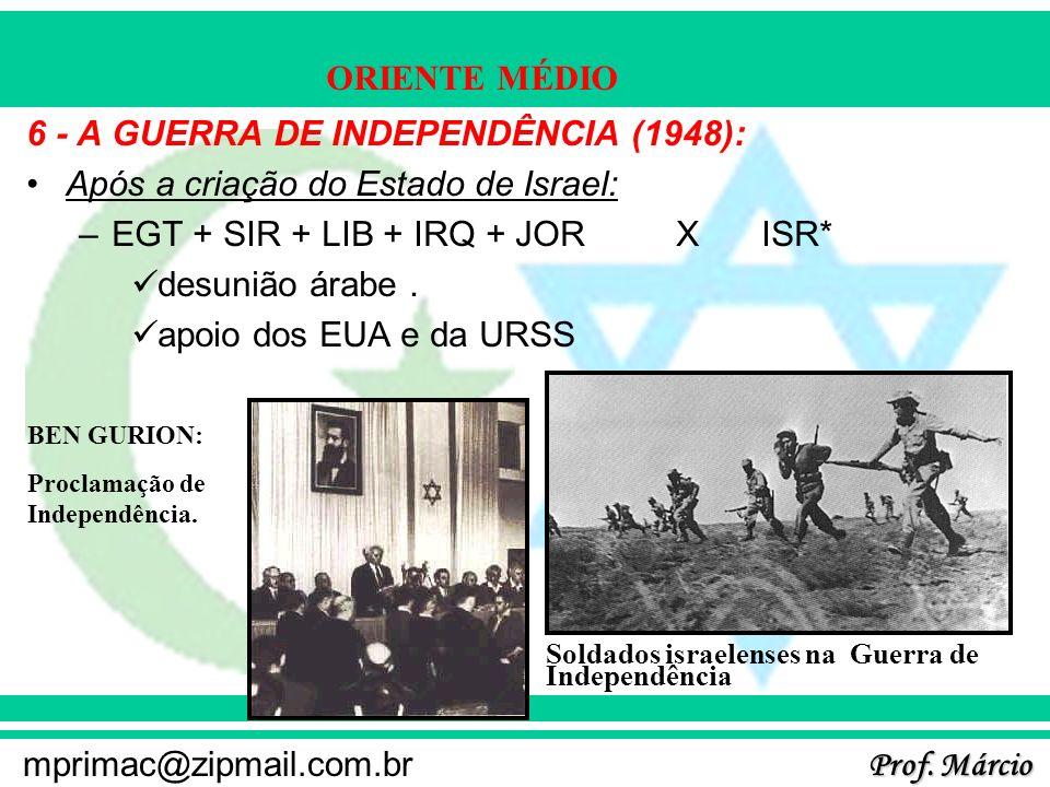 Prof. Márcio mprimac@zipmail.com.br ORIENTE MÉDIO 6 - A GUERRA DE INDEPENDÊNCIA (1948): Após a criação do Estado de Israel: –EGT + SIR + LIB + IRQ + J