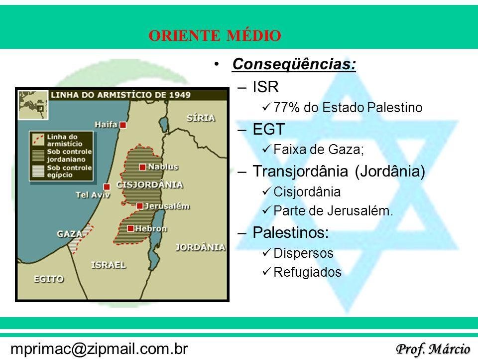 Prof. Márcio mprimac@zipmail.com.br ORIENTE MÉDIO Conseqüências: –ISR 77% do Estado Palestino –EGT Faixa de Gaza; –Transjordânia (Jordânia) Cisjordâni