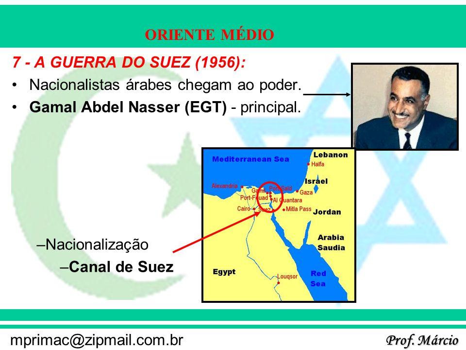 Prof. Márcio mprimac@zipmail.com.br ORIENTE MÉDIO 7 - A GUERRA DO SUEZ (1956): Nacionalistas árabes chegam ao poder. Gamal Abdel Nasser (EGT) - princi
