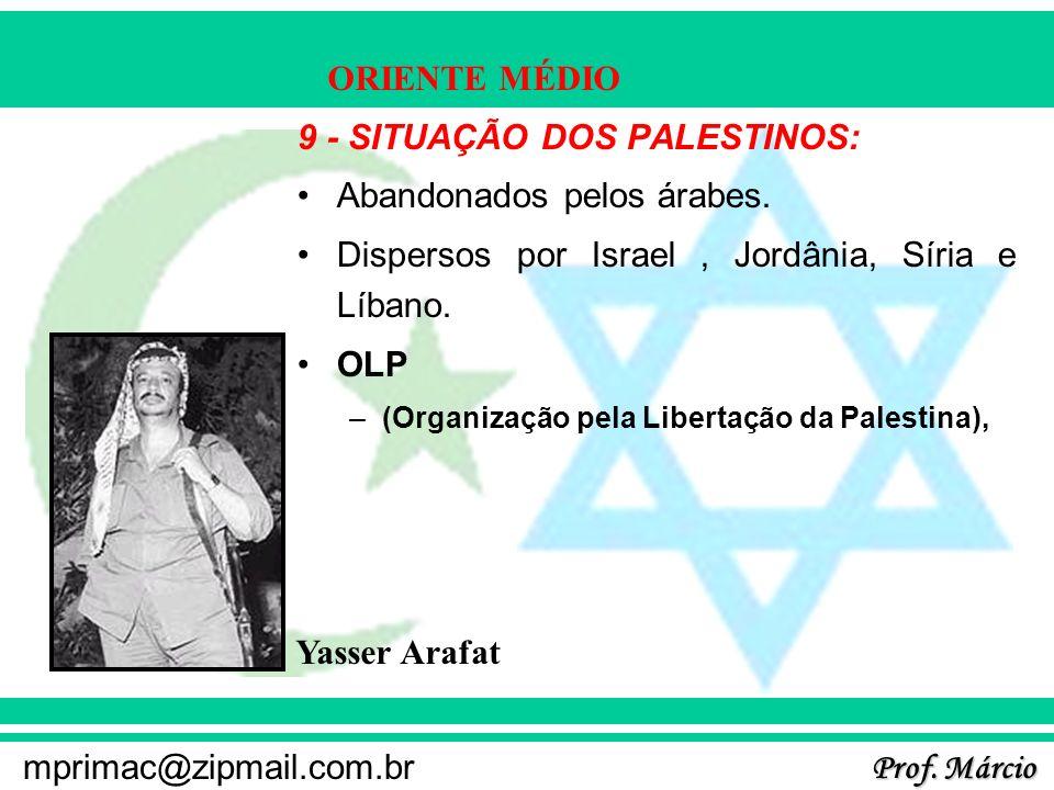 Prof. Márcio mprimac@zipmail.com.br ORIENTE MÉDIO 9 - SITUAÇÃO DOS PALESTINOS: Abandonados pelos árabes. Dispersos por Israel, Jordânia, Síria e Líban