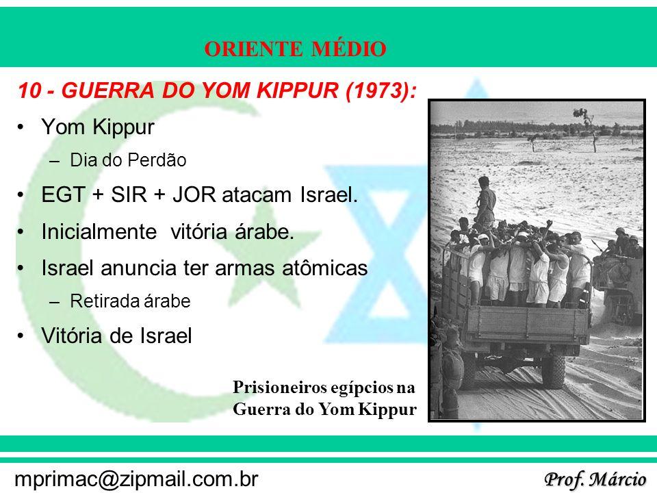 Prof. Márcio mprimac@zipmail.com.br ORIENTE MÉDIO 10 - GUERRA DO YOM KIPPUR (1973): Yom Kippur –Dia do Perdão EGT + SIR + JOR atacam Israel. Inicialme
