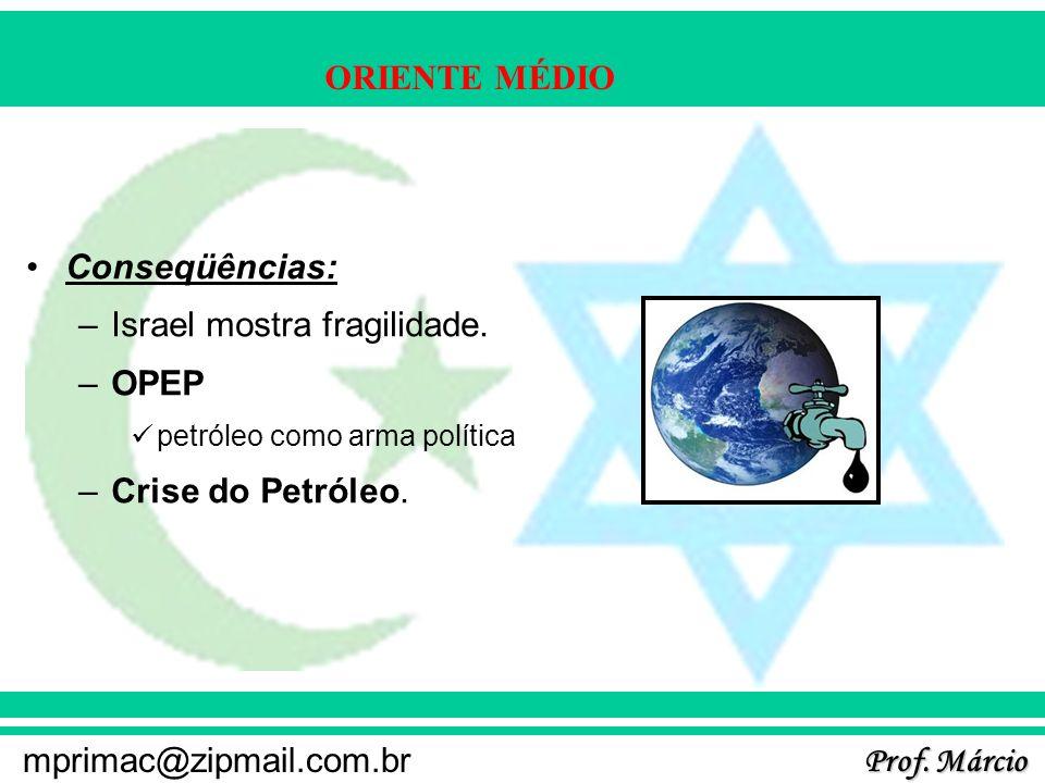 Prof. Márcio mprimac@zipmail.com.br ORIENTE MÉDIO Conseqüências: –Israel mostra fragilidade. –OPEP petróleo como arma política –Crise do Petróleo.