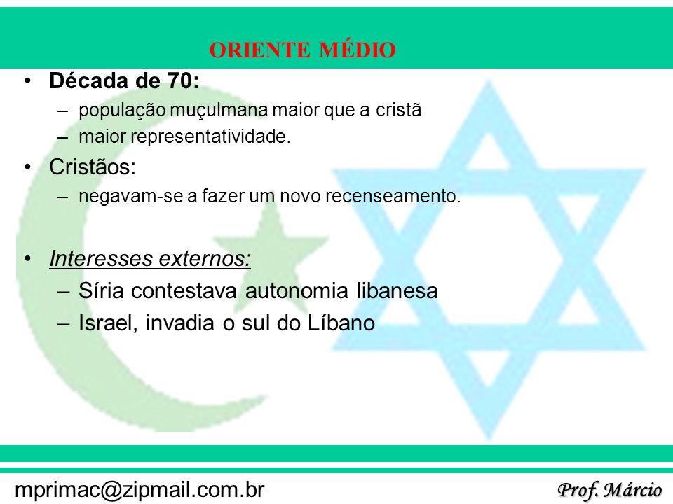 Prof. Márcio mprimac@zipmail.com.br ORIENTE MÉDIO Década de 70: –população muçulmana maior que a cristã –maior representatividade. Cristãos: –negavam-