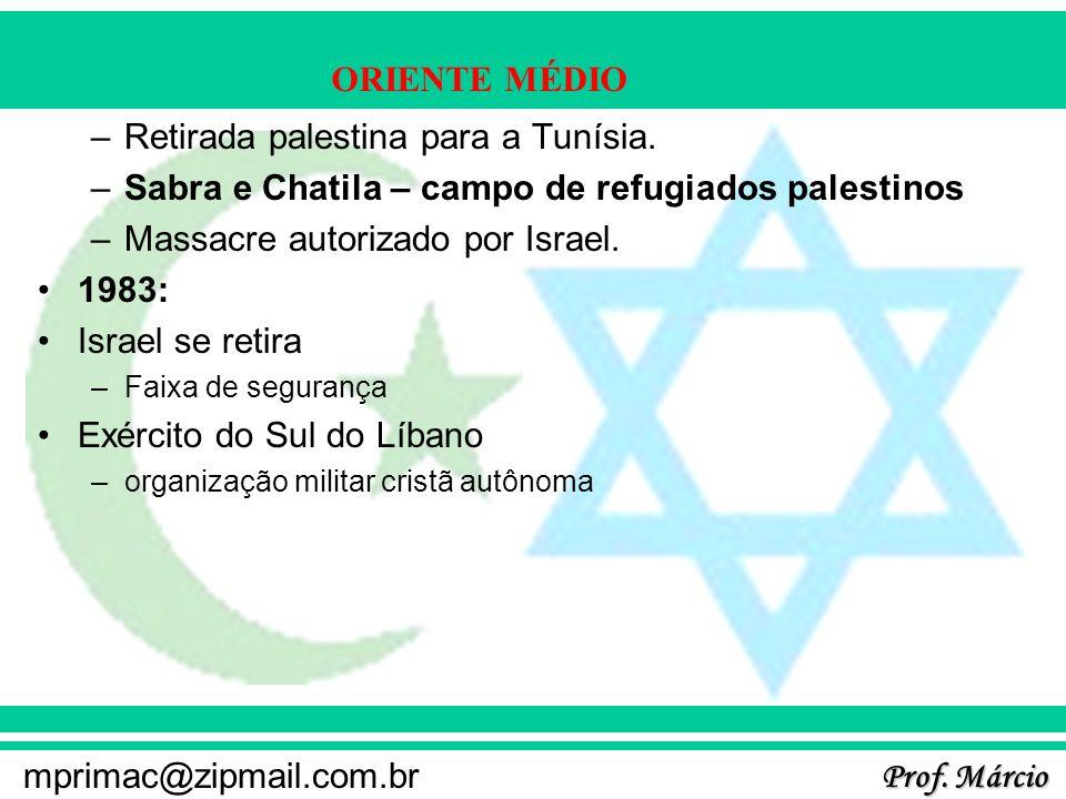 Prof. Márcio mprimac@zipmail.com.br ORIENTE MÉDIO –Retirada palestina para a Tunísia. –Sabra e Chatila – campo de refugiados palestinos –Massacre auto