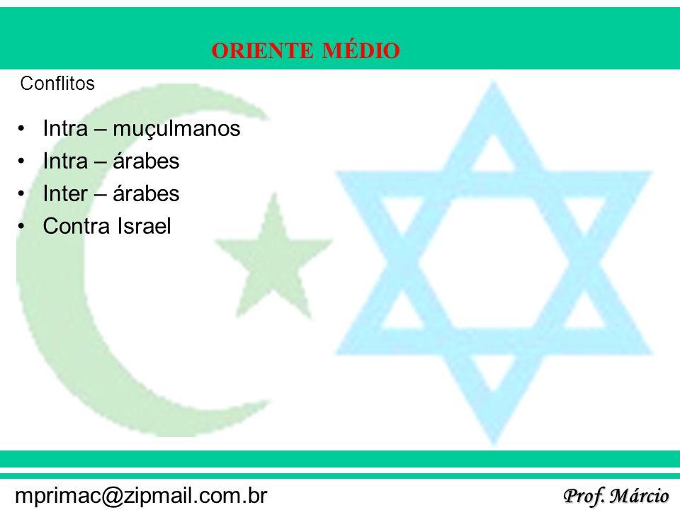 Prof. Márcio mprimac@zipmail.com.br ORIENTE MÉDIO Conflitos Intra – muçulmanos Intra – árabes Inter – árabes Contra Israel