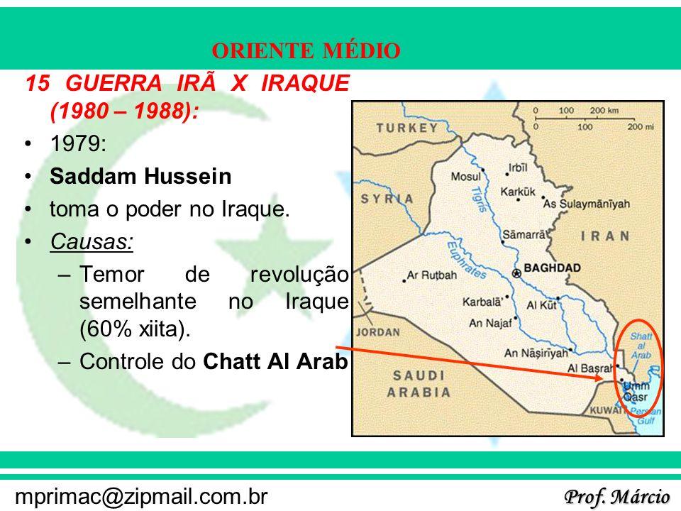 Prof. Márcio mprimac@zipmail.com.br ORIENTE MÉDIO 15 GUERRA IRÃ X IRAQUE (1980 – 1988): 1979: Saddam Hussein toma o poder no Iraque. Causas: –Temor de