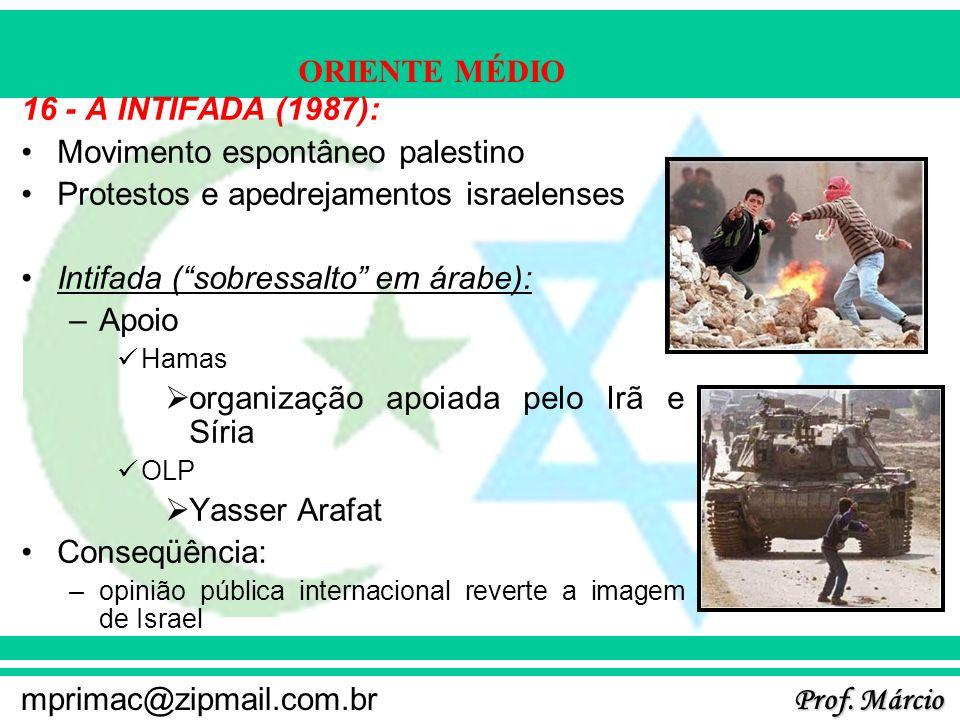 Prof. Márcio mprimac@zipmail.com.br ORIENTE MÉDIO 16 - A INTIFADA (1987): Movimento espontâneo palestino Protestos e apedrejamentos israelenses Intifa