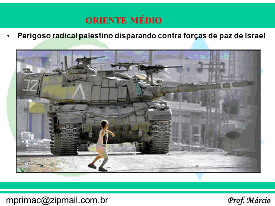 Prof. Márcio mprimac@zipmail.com.br ORIENTE MÉDIO Perigoso radical palestino disparando contra forças de paz de Israel