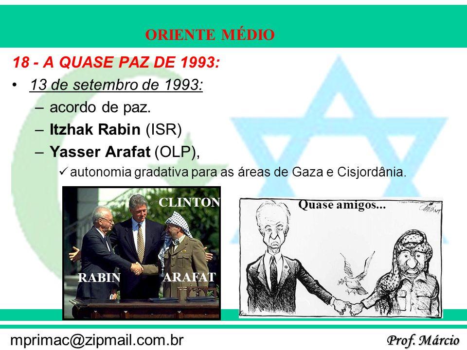 Prof. Márcio mprimac@zipmail.com.br ORIENTE MÉDIO 18 - A QUASE PAZ DE 1993: 13 de setembro de 1993: –acordo de paz. –Itzhak Rabin (ISR) –Yasser Arafat