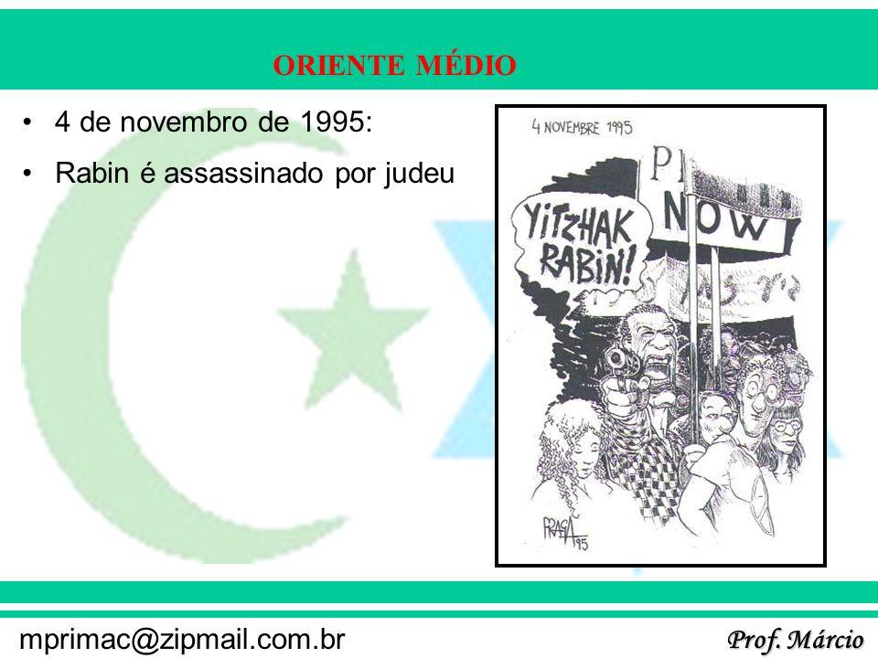 Prof. Márcio mprimac@zipmail.com.br ORIENTE MÉDIO 4 de novembro de 1995: Rabin é assassinado por judeu