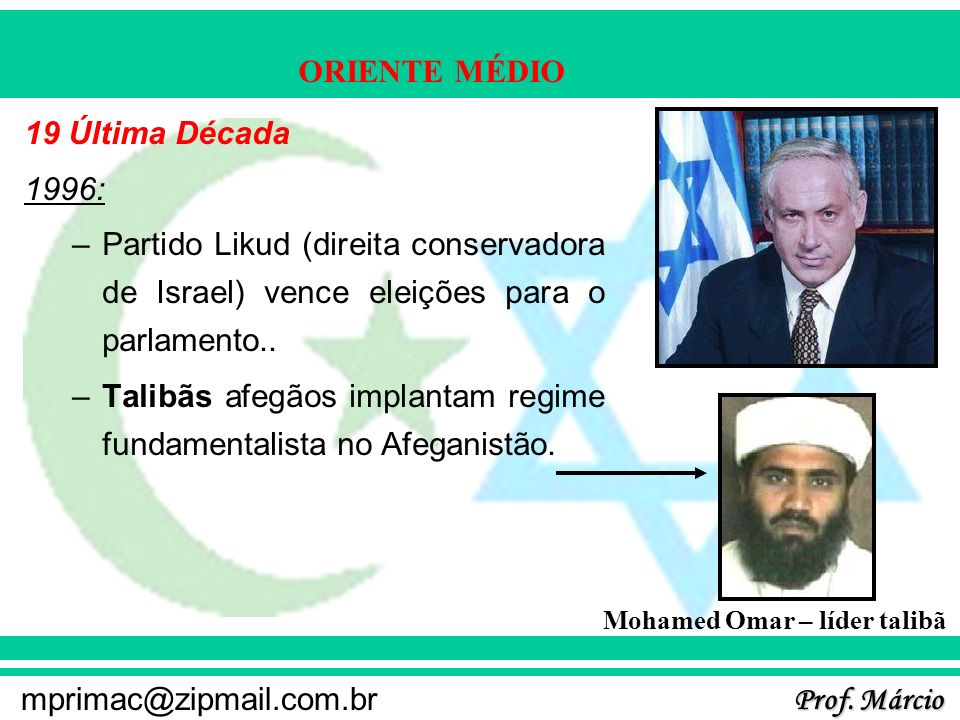 Prof. Márcio mprimac@zipmail.com.br ORIENTE MÉDIO 19 Última Década 1996: –Partido Likud (direita conservadora de Israel) vence eleições para o parlame