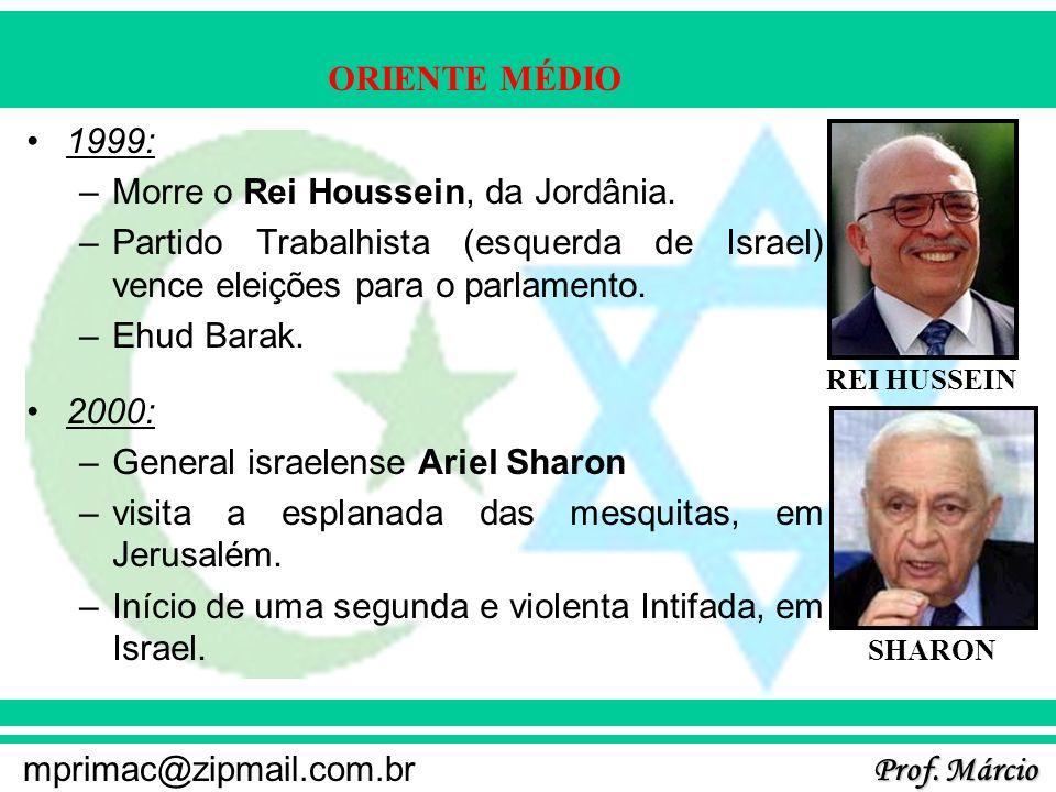 Prof. Márcio mprimac@zipmail.com.br ORIENTE MÉDIO 1999: –Morre o Rei Houssein, da Jordânia. –Partido Trabalhista (esquerda de Israel) vence eleições p