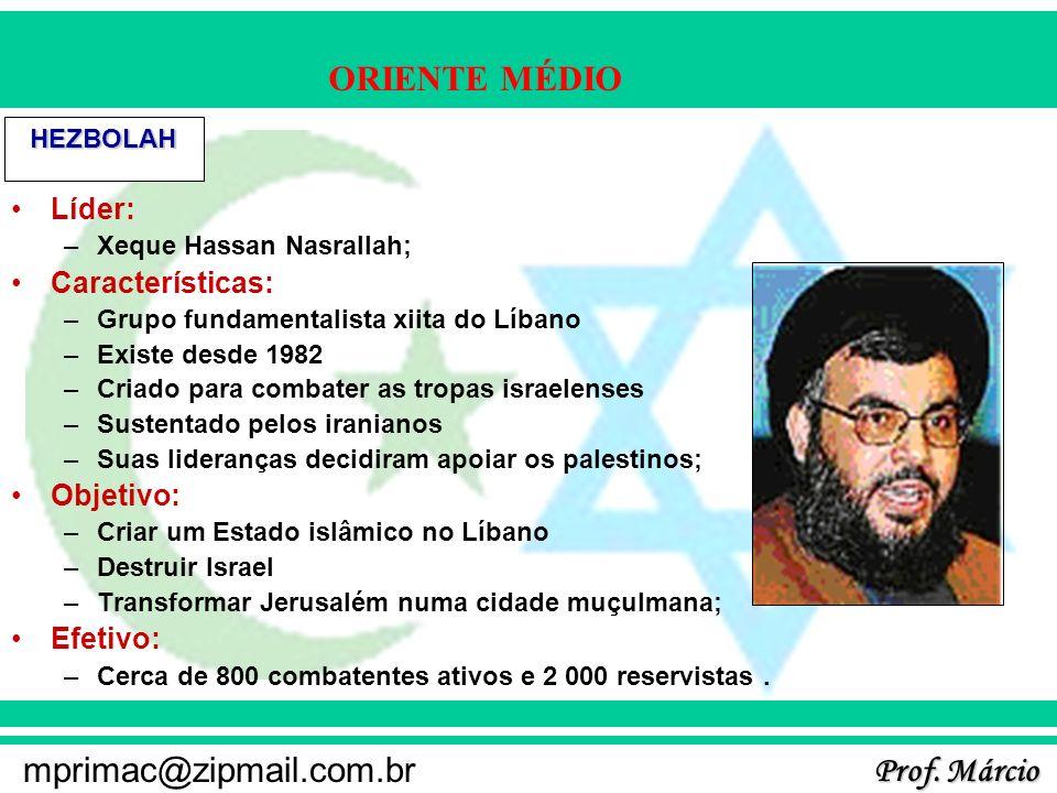 Prof. Márcio mprimac@zipmail.com.br ORIENTE MÉDIO HEZBOLAH Líder: –Xeque Hassan Nasrallah; Características: –Grupo fundamentalista xiita do Líbano –Ex
