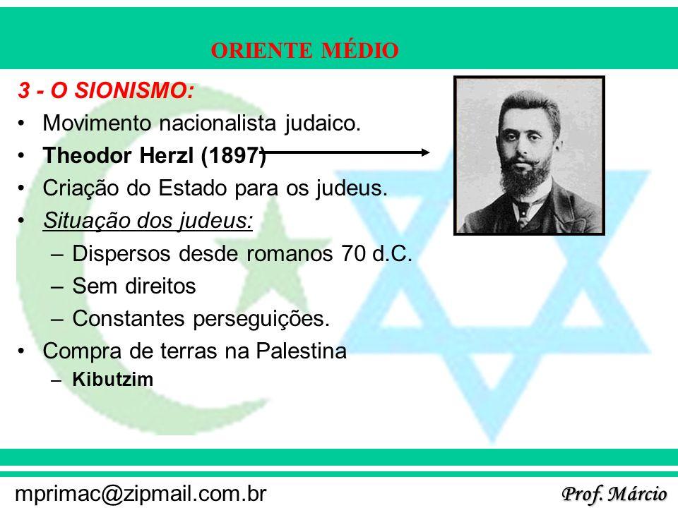 Prof. Márcio mprimac@zipmail.com.br ORIENTE MÉDIO 3 - O SIONISMO: Movimento nacionalista judaico. Theodor Herzl (1897) Criação do Estado para os judeu