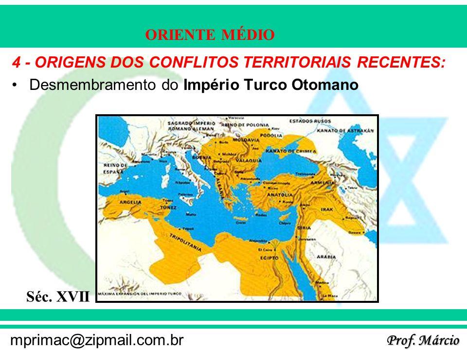Prof. Márcio mprimac@zipmail.com.br ORIENTE MÉDIO 4 - ORIGENS DOS CONFLITOS TERRITORIAIS RECENTES: Desmembramento do Império Turco Otomano Séc. XVII