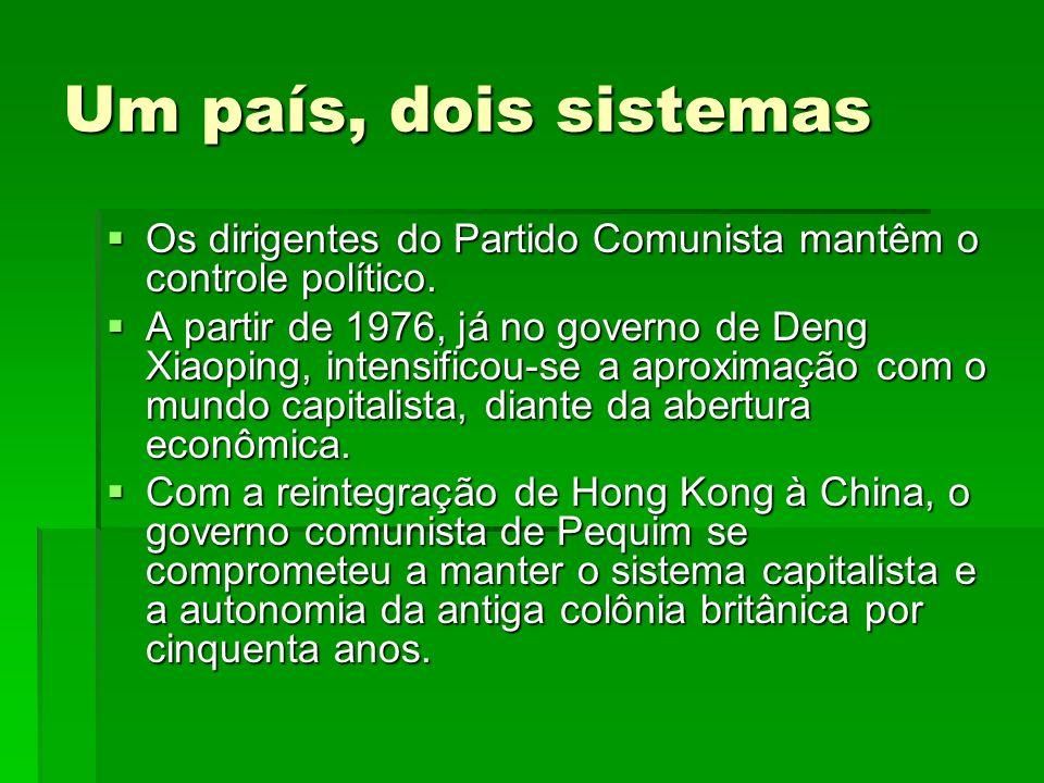 Um país, dois sistemas Os dirigentes do Partido Comunista mantêm o controle político. Os dirigentes do Partido Comunista mantêm o controle político. A