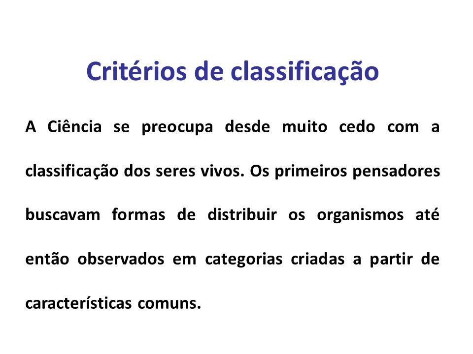 Elaboração Prof. Santer Matos Critérios de classificação A Ciência se preocupa desde muito cedo com a classificação dos seres vivos. Os primeiros pens
