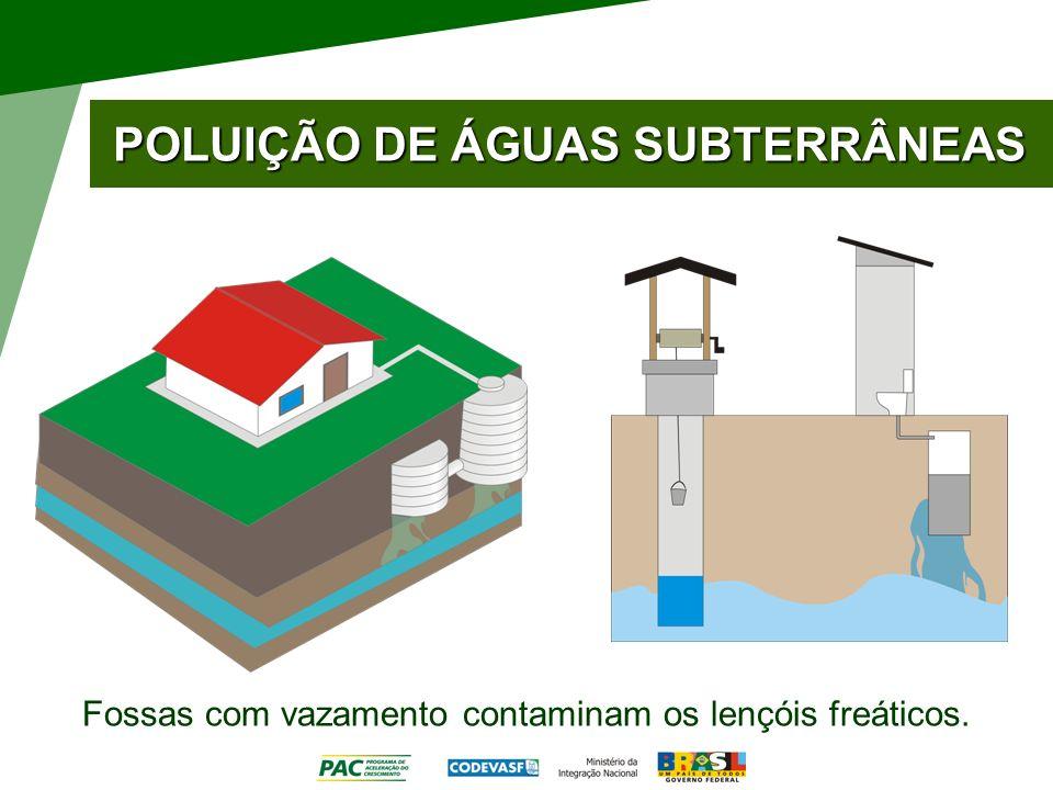POLUIÇÃO DE ÁGUAS SUBTERRÂNEAS Fossas com vazamento contaminam os lençóis freáticos.