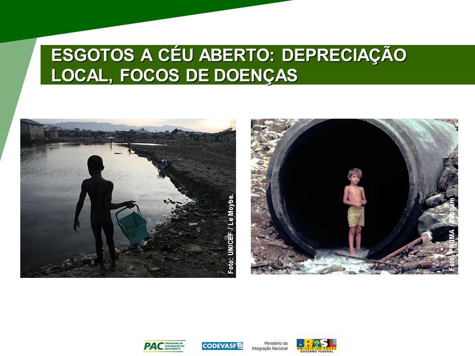 ESGOTOS A CÉU ABERTO: DEPRECIAÇÃO LOCAL, FOCOS DE DOENÇAS Foto: PNUMA / Topham Foto: UNICEF / Le Moybe.
