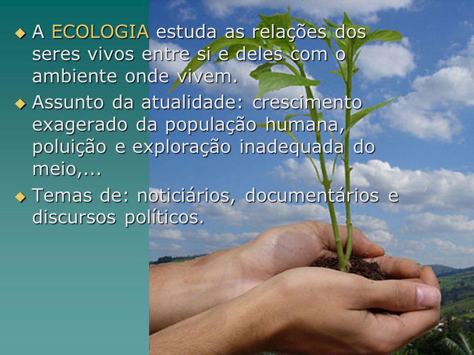 A ECOLOGIA estuda as relações dos seres vivos entre si e deles com o ambiente onde vivem. A ECOLOGIA estuda as relações dos seres vivos entre si e del