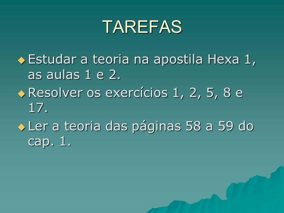 TAREFAS Estudar a teoria na apostila Hexa 1, as aulas 1 e 2. Estudar a teoria na apostila Hexa 1, as aulas 1 e 2. Resolver os exercícios 1, 2, 5, 8 e