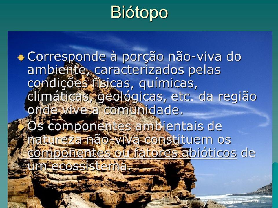 Biótopo Corresponde à porção não-viva do ambiente, caracterizados pelas condições físicas, químicas, climáticas, geológicas, etc. da região onde vive