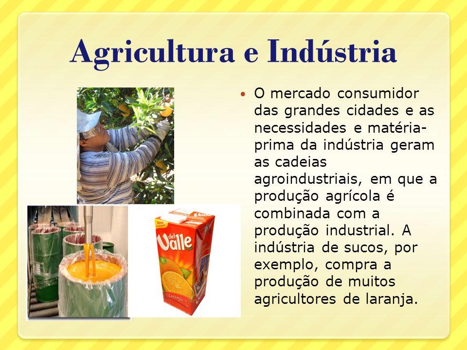 Agricultura e Indústria O mercado consumidor das grandes cidades e as necessidades e matéria- prima da indústria geram as cadeias agroindustriais, em