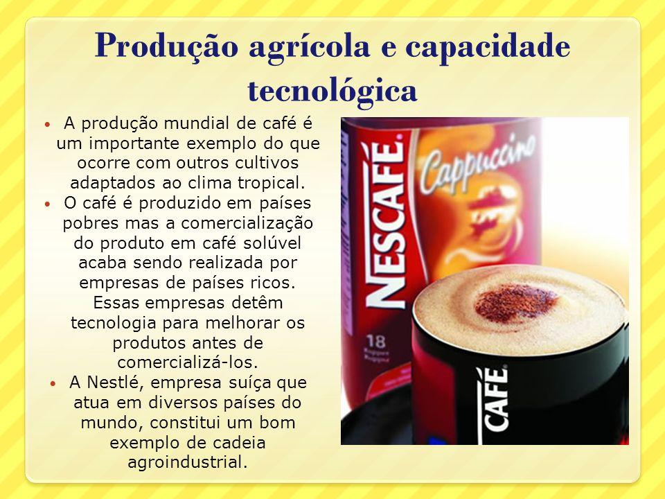 Produção agrícola e capacidade tecnológica A produção mundial de café é um importante exemplo do que ocorre com outros cultivos adaptados ao clima tro