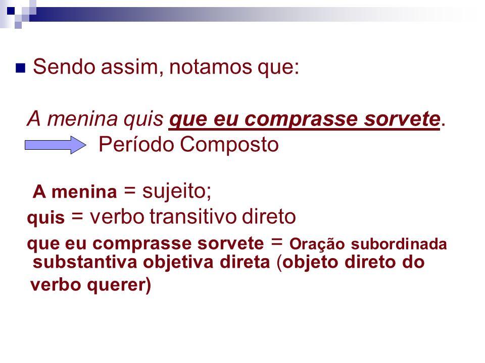(1) Subjetiva: ocupa a função de sujeito.Exemplos: É necessário que você compareça à reunião.