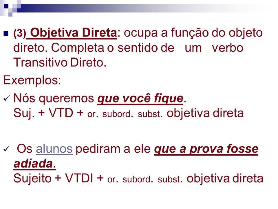 (4) Objetiva Indireta: ocupa a função do objeto indireto.